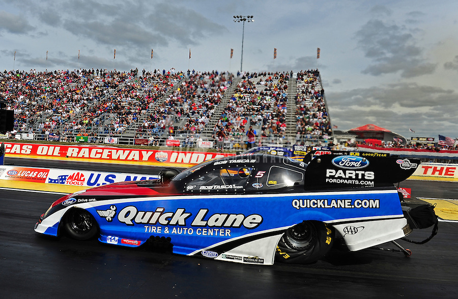 Sept. 5, 2011; Claremont, IN, USA: NHRA funny car driver Bob Tasca III during the US Nationals at Lucas Oil Raceway. Mandatory Credit: Mark J. Rebilas-