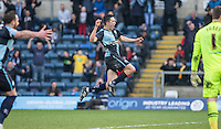 Luke O'Nien of Wycombe Wanderers celebrates his goal during the Sky Bet League 2 match between Wycombe Wanderers and Stevenage at Adams Park, High Wycombe, England on 12 March 2016. Photo by Andy Rowland/PRiME Media Images.
