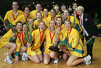 16.11.2007 Australia celebrate after the Silver Ferns v Australia Final at the New World Netball World Champs held at Trusts Stadium Auckland New Zealand. Mandatory Photo Credit ©Michael Bradley. ***FREE FOR EDITORIAL USE***