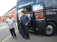 Fleetwood Town's Manager Joey Barton gets off the team bus<br /> <br /> Photographer Mick Walker/CameraSport<br /> <br /> The Carabao Cup First Round - Nottingham Forest v Fleetwood Town - Tuesday 13th August 2019 - The City Ground - Nottingham<br />  <br /> World Copyright © 2019 CameraSport. All rights reserved. 43 Linden Ave. Countesthorpe. Leicester. England. LE8 5PG - Tel: +44 (0) 116 277 4147 - admin@camerasport.com - www.camerasport.com