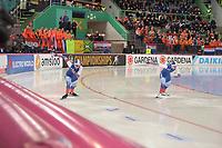 SPEEDSKATING: HAMAR: Vikingskipet, 28-02-2020, ISU World Speed Skating Championships, Sprint, 500m Ladies, Angelina Golikova (RUS), Olga Fatkulina (RUS), ©photo Martin de Jong