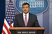 White House Principal Deputy Press Secretary Raj Shah makes an opening statement as he conducts his first official White House briefing to the media in the Brady Press Briefing Room of the White House in Washington, DC on Thursday, February 8, 2018. Photo Credit: Ron Sachs/CNP/AdMedia