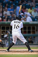 Ronald Bueno (16) of the Charlotte Knights at bat against the Indianapolis Indians at BB&T BallPark on June 16, 2017 in Charlotte, North Carolina.  The Knights defeated the Indians 12-4.  (Brian Westerholt/Four Seam Images)