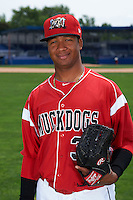 Batavia Muckdogs pitcher Ayron Adames (36) poses for a photo on July 8, 2015 at Dwyer Stadium in Batavia, New York.  (Mike Janes/Four Seam Images)