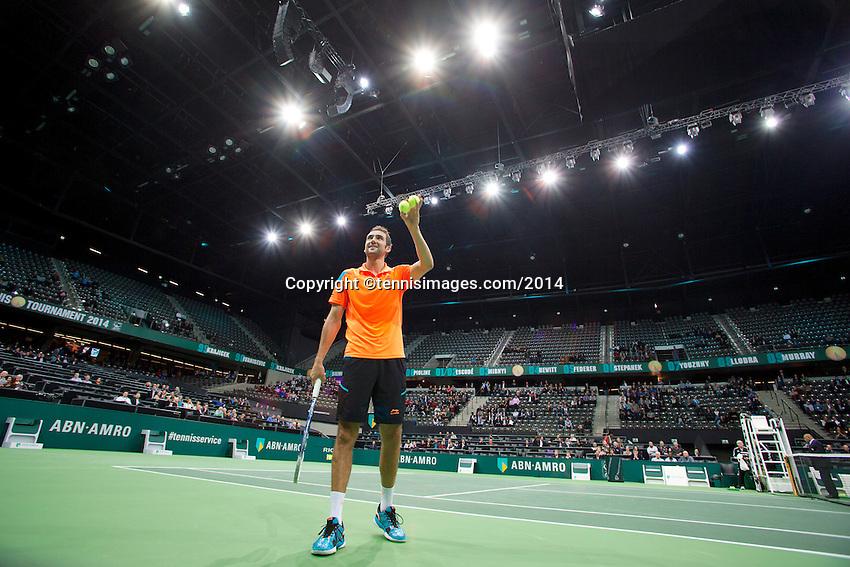 11-02-14, Netherlands,Rotterdam,Ahoy, ABNAMROWTT, Marin Cilic(KRO)<br /> Photo:Tennisimages/Henk Koster