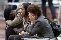 Glasgow, Scotland - Extras on the world war z set felling tired as another day of filming comes to an end. .Picture: Maurice McDonald/Universal News And Sport (Scotland). 24 August 2011. www.unpixs.com..