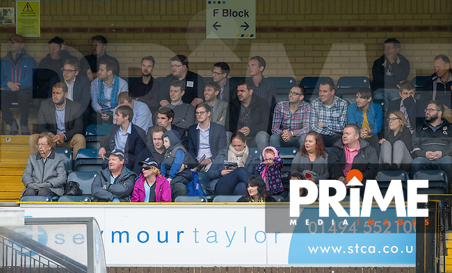 Wycombe supporters during the Sky Bet League 2 match between Wycombe Wanderers and Stevenage at Adams Park, High Wycombe, England on 17 September 2016. Photo by Andy Rowland / PRiME Media Images.