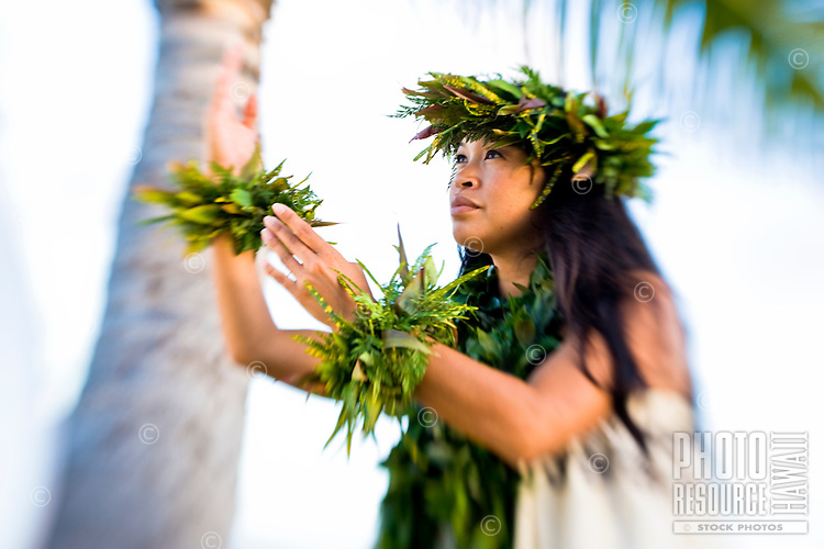 A Hawaiian woman in kahiko attire, O'ahu.