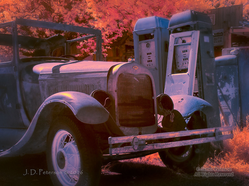 Ford and Friends (Infrared) © 2016 James D Peterson.  These charming echoes of yesteryear were found in a wide spot along the highway west of Taos, New Mexico.<br />