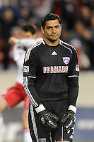FC Dallas goalkeeper Dario Sala (44) reacts to giving up a goal to Juan Pablo Angel (9) of the New York Red Bulls. The New York Red Bulls defeated FC Dallas 2-1 during a Major League Soccer (MLS) match at Red Bull Arena in Harrison, NJ, on April 17, 2010.