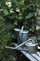 A couple of old watering cans have been left on a faded bench in a corner of the garden