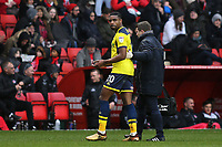 Jon Obika of Oxford United was forced to leave the field in the first half after suffering an injury during Charlton Athletic vs Oxford United, Sky Bet EFL League 1 Football at The Valley on 3rd February 2018