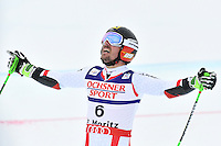 February 17, 2017: Marcel HIRSCHER (AUT) reacts after seeing that his time for the second run gave him the gold medal in the men's giant slalom event at the FIS Alpine World Ski Championships at St Moritz, Switzerland. Photo Sydney Low