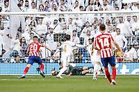 1st February 2020; Estadio Santiago Bernabeu, Madrid, Spain; La Liga Football, Real Madrid versus Atletico de Madrid; Thibaut Courtois (Real Madrid)  makes a good foot save during the match