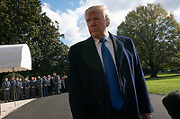 United States President Donald J. Trump speaks to members of the media on the South Lawn of the White House in Washington D.C., U.S. as he departs for a day trip to Marietta, Georgia on Friday, November 8, 2019.  Credit: Stefani Reynolds / CNP /MediaPunch