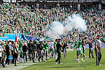 "Smoke settles after the ""Boomer"" cannon goes off after a UNT score during the Zaxby's Heart of Dallas Bowl game between the Army Black Knights and the North Texas Mean Green at the Cotton Bowl Stadium in Dallas, Texas."