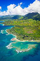Haena Point, Tunnels Beach, and coral reef, North Shore, Kauai, Hawaii, USA, Pacific Ocean