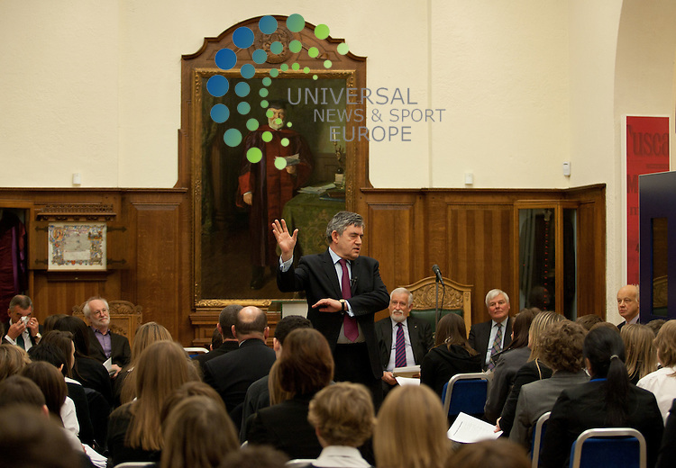 .Former PM Gordon Brown talks all about his research into the modern history of Fife, with Andrew Carnegie's great-grandson William Thompson and Carnegie biographer David Nasaw at the Andrew Carnegie Birthplace Museum in Dunfermline. .Picture: Hamish Robb Universal News And Sport (Europe) 25 November  2010 All pictures must be credited to www.universalnewsandsport.com. (0ffice) 0844 884 51 22  .