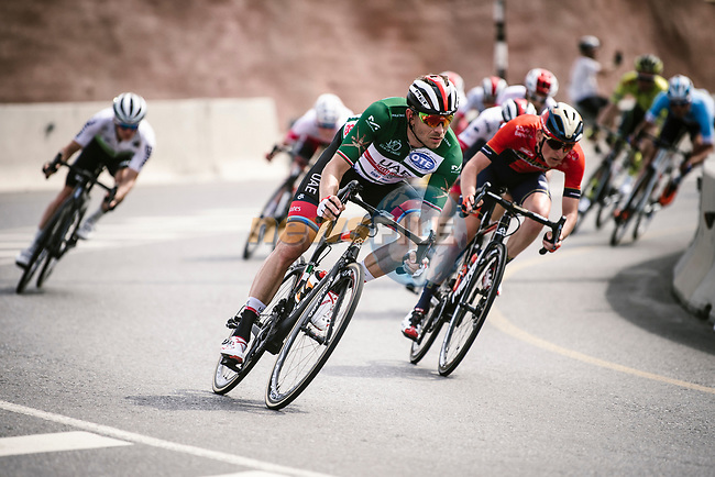 Green Jersey wearer Alexander Kristoff (NOR) UAE Team Emirates descends during Stage 4 of 10th Tour of Oman 2019, running 131km from Yiti (Al Sifah) to Oman Convention and Exhibition Centre, Oman. 19th February 2019.<br /> Picture: ASO/P. Ballet | Cyclefile<br /> All photos usage must carry mandatory copyright credit (© Cyclefile | ASO/P. Ballet)