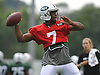 Geno Smith #7, New York Jets quarterback, throws a pass during team training camp at Atlantic Health Jets Training Center in Florham Park, NJ on Wednesday, Aug. 3, 2016.