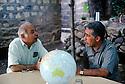 Iraq 1991<br /> Left,Said Charafkandi and Mehdi Zana discussing at the headquarters of KDPI in Candil