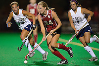 STANFORD, CA - OCTOBER 21, 2011: Shannon Herold drives upfield during the game between Stanford field hockey and UC Davis at the Varsity Field Hockey Turf in Stanford, California on October 21, 2011.  Stanford defeated UC Davis, 5-0.