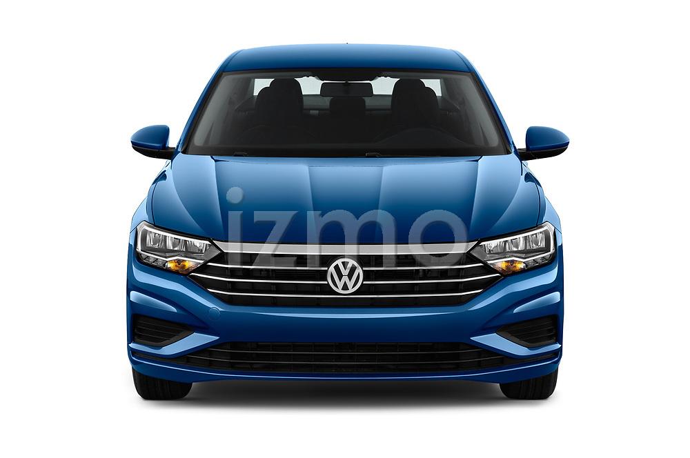 Car photography straight front view of a 2019 Volkswagen Jetta S 4 Door Sedan