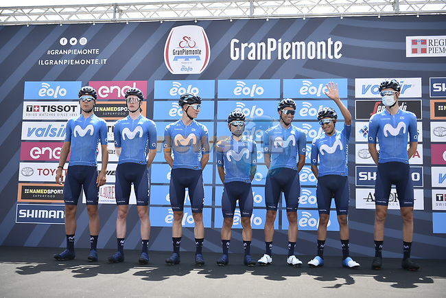 Movistar Team at sign on before the start of the 104th edition of GranPiemonte 2020, running 187km from Santo Stefano Belbo to Barolo, Italy. 12th August 2020.<br /> Picture: LaPresse/Fabio Ferrari | Cyclefile<br /> <br /> All photos usage must carry mandatory copyright credit (© Cyclefile | LaPresse/Fabio Ferrari)