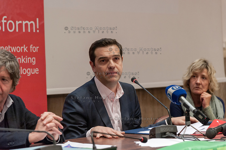 """ROME, ITALY - MARCH 23: Greek Prime Minister Alexis Tsipras ( participated in the meeting """"Transform Europe"""",  which was held to University La Sapienza. In the courtroom to hear the greek prime minister many militants of the radical left, from different parties, and associations on March 23, 2017 in Rome;Italy."""
