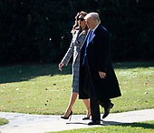 United States President Donald J. Trump and First Lady Melania Trump depart The White House in Washington, DC, October 30, 2018 headed to Pittsburgh, PA to meet with members of the local Jewish community after a recent shooting at a synagogue. Credit: Chris Kleponis / CNP