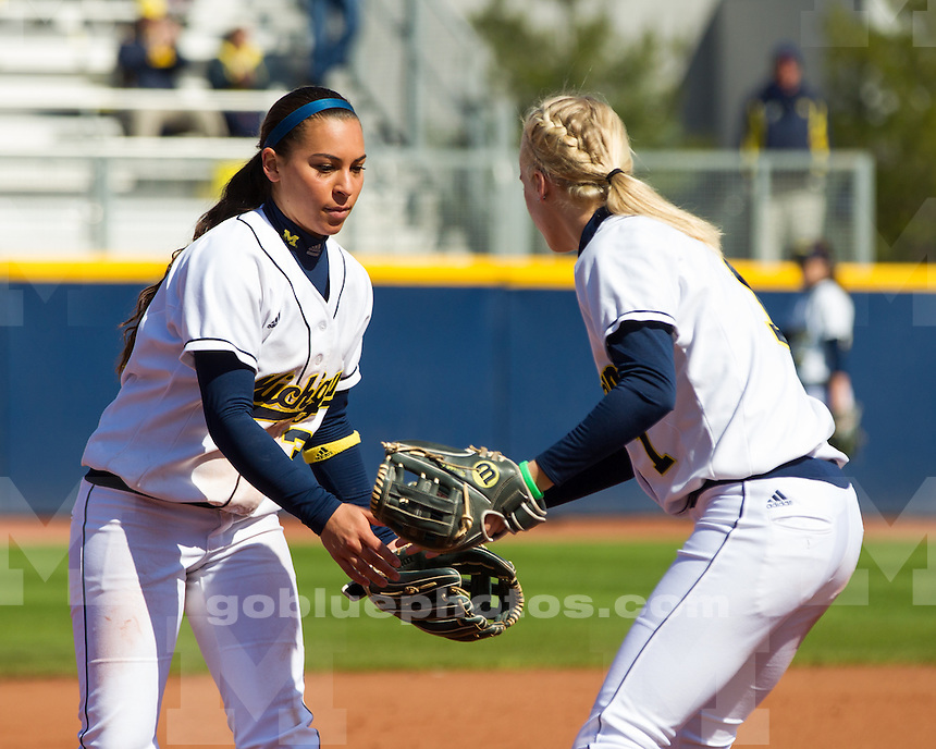 The University of Michigan softball team swept Iowa, 8-6 and 8-0 (5 inn.), during a Sunday afternoon doubleheader at the Wilpon Complex in Ann Arbor, Mich., on April 21, 2013.