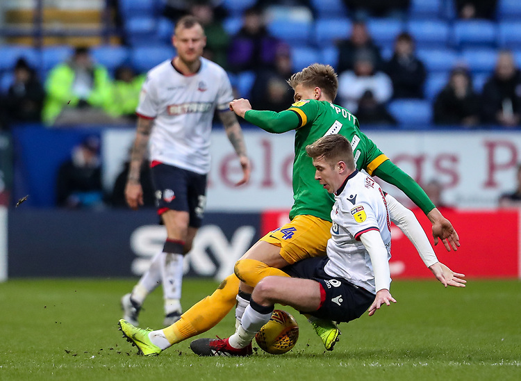Bolton Wanderers' Josh Vela competing with Preston North End's Brad Potts  <br /> <br /> Photographer Andrew Kearns/CameraSport<br /> <br /> The EFL Sky Bet Championship - Bolton Wanderers v Preston North End - Saturday 9th February 2019 - University of Bolton Stadium - Bolton<br /> <br /> World Copyright © 2019 CameraSport. All rights reserved. 43 Linden Ave. Countesthorpe. Leicester. England. LE8 5PG - Tel: +44 (0) 116 277 4147 - admin@camerasport.com - www.camerasport.com