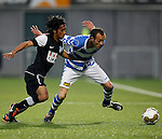 Nederland, Zwolle, 13 april 2012.Jupiler League.Seizoen 2011-2012.Nassir Maachi (r.) van FC Zwolle en Justin Tahapary (l.) van FC Eindhoven strijden om de bal
