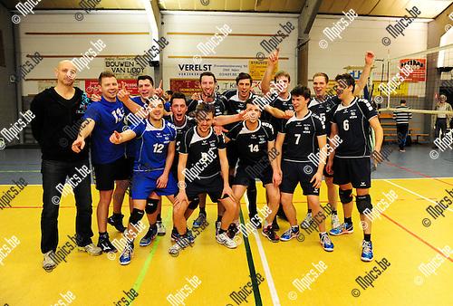 2015-03-08 / Volleybal / seizoen 2014-2015 / Nijlen -  Wezo Westerlo / svbo / Wezo viert de 0-3 overwinning en is (zo goed als???) zeker van de titel.<br /><br />Foto: Mpics.be