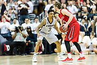 Washington, DC - MAR 10, 2018: St. Bonaventure Bonnies guard Jaylen Adams (3) plays defense agasint Davidson Wildcats guard Jon Axel Gudmundsson (3) during semi final match up of the Atlantic 10 men's basketball championship between Davidson and St. Bonaventure at the Capital One Arena in Washington, DC. (Photo by Phil Peters/Media Images International)