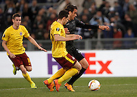 Calcio, Europa League: Lazio vs Sparta Praga. Roma, stadio Olimpico, 17 marzo 2016.<br /> Lazio&rsquo;s Alessandro Matri, right, is challenged by Sparta Praha's Mario Holek during the round of 16 second leg soccer match between Lazio and Sparta Praha, at Rome's Olympic Stadium, 17 March 2016. Sparta Praha won 3-0 to join the quarter finals.<br /> UPDATE IMAGES PRESS/Isabella Bonotto