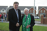 Packie Bonner with Grand Marshall Padraig at the Prawn Parade in Clogherhead...Photo NEWSFILE/Jenny Matthews.(Photo credit should read Jenny Matthews/NEWSFILE)....This Picture has been sent you under the condtions enclosed by:.Newsfile Ltd..The Studio,.Millmount Abbey,.Drogheda,.Co Meath..Ireland..Tel: +353(0)41-9871240.Fax: +353(0)41-9871260.GSM: +353(0)86-2500958.email: pictures@newsfile.ie.www.newsfile.ie.FTP: 193.120.102.198.