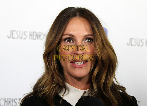 Julia Roberts.'Jesus Henry Christ' Los Angeles Premiere Held at Mann Chinese 6. Hollywood, California, USA..18th April 2012.headshot portrait black white collar mouth open.CAP/ADM/KB.©Kevan Brooks/AdMedia/Capital Pictures
