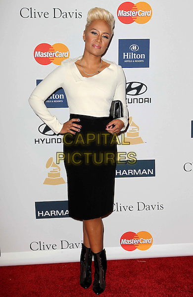 Emeli Sande.Clive Davis And The Recording Academy's 2013 GRAMMY Salute To Industry Icons Gala held at The Beverly Hilton Hotel, Beverly Hills, California, USA..February 9th, 2013.full length black white top skirt ankle boots hand on hip clutch bag.CAP/ADM/KB.©Kevan Brooks/AdMedia/Capital Pictures.