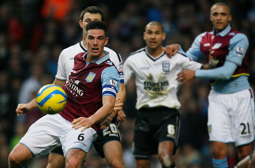 Aston Villa's Ciaran Clark (L)..Football - FA Challenge Cup Third Round - Aston Villa v Ipswich Town - Saturday 5th January 2013 - Villa Park - Birmingham .. © CameraSport - 43 Linden Ave. Countesthorpe. Leicester. England. LE8 5PG - Tel: +44 (0) 116 277 4147 - admin@camerasport.com - www.camerasport.com