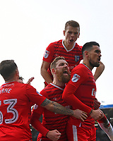 Conor Wilkinson of Gillingham right celebrates his equalising goal with team mates during Portsmouth vs Gillingham, Sky Bet EFL League 1 Football at Fratton Park on 10th March 2018
