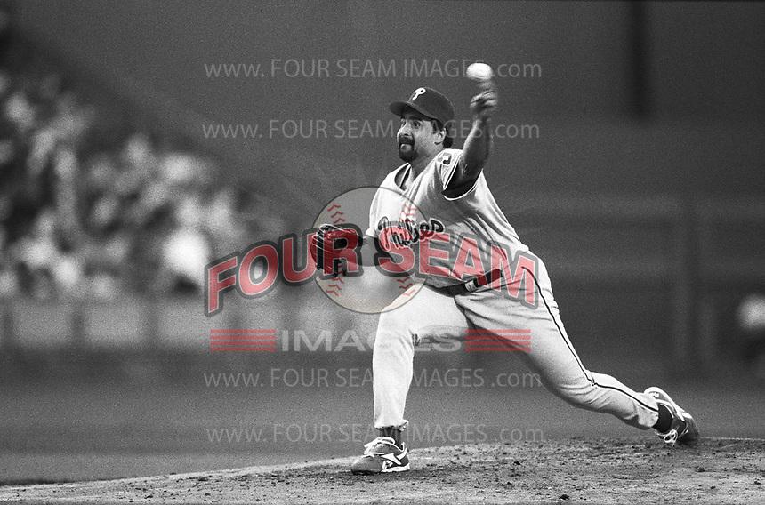 Sid Fernandez of the Philadelphia Phillies at Dodger Stadium in Los Angeles,California during the 1996 season. (Larry Goren/Four Seam Images)