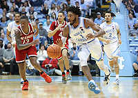CHAPEL HILL, NC - FEBRUARY 25: Leaky Black #1 of the University of North Carolina runs up the court with the ball during a game between NC State and North Carolina at Dean E. Smith Center on February 25, 2020 in Chapel Hill, North Carolina.