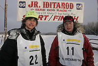 Rohn Buser and Micah Degerlund  finish line  Jr. Iditarod 2006