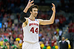 Wisconsin Badgers center Frank Kaminsky (44) celebrates during the third-round game in the NCAA college basketball tournament against the Oregon Ducks Saturday, April 22, 2014 in Milwaukee. The Badgers won 85-77. (Photo by David Stluka)