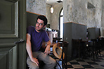 ISRAEL Tel Aviv<br /> <br /> American author Jonathan Safran Foer, in the cafe he usually writes at.