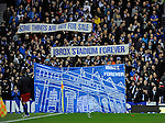 Rangers fans protesting about a potential deal to rename Ibrox Stadium