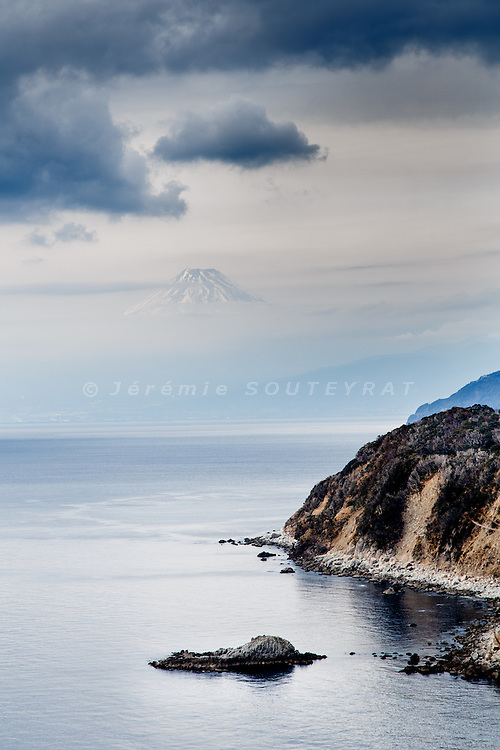 Izu peninsula, February 2014 - Mount Fuji as seen from the Izu koibito misaki (lover's cape).