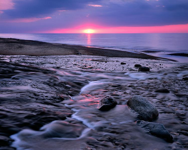 Sunset light on the Hurricane River on the shore of Lake Superior; Pictured Rocks National Lakeshore, MI