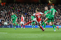 Alex Oxlade-Chamberlain of Arsenal shoots during the UEFA Champions League match between Arsenal and PFC Ludogorets Razgrad at the Emirates Stadium, London, England on 19 October 2016. Photo by David Horn / PRiME Media Images.